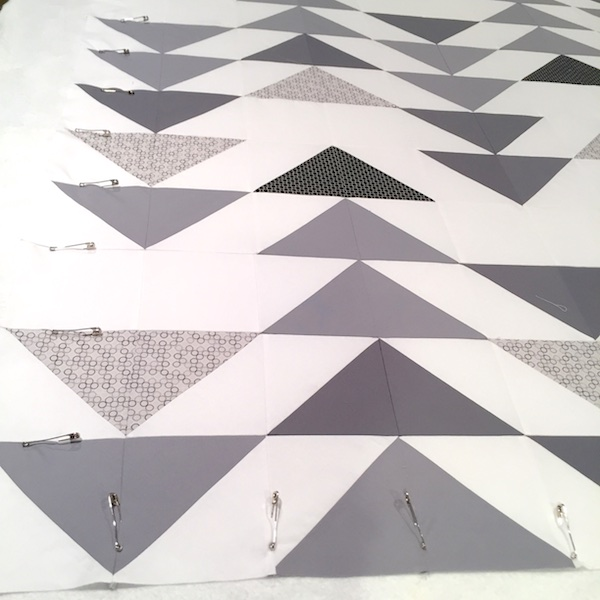 Grey Goose Quilt Basting