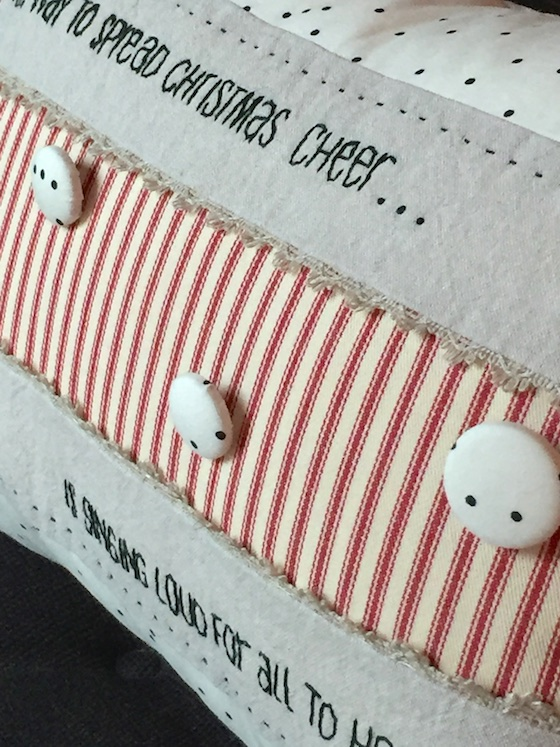 linen christmas pillow buttons