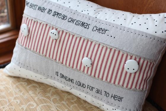 linen christmas pillow corner