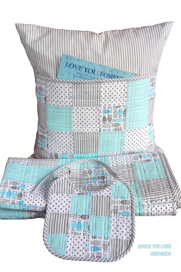 Little Owl Quilt, Pillow, Bib