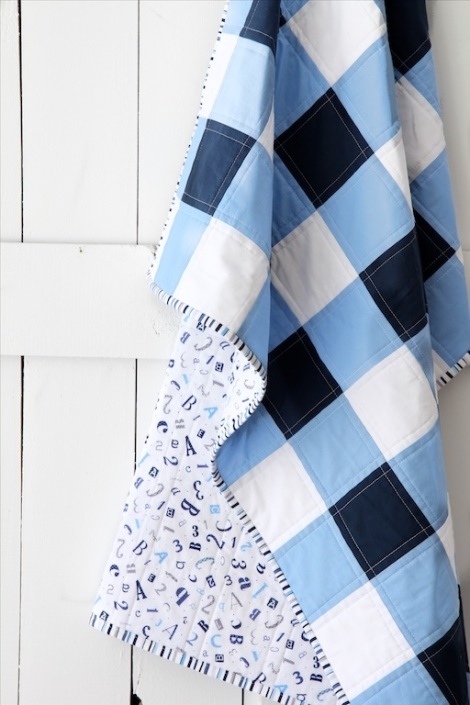 Hanging Navy Gingham quilt