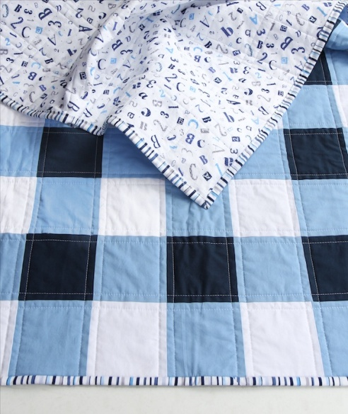Navy Gingham Quilt back & front
