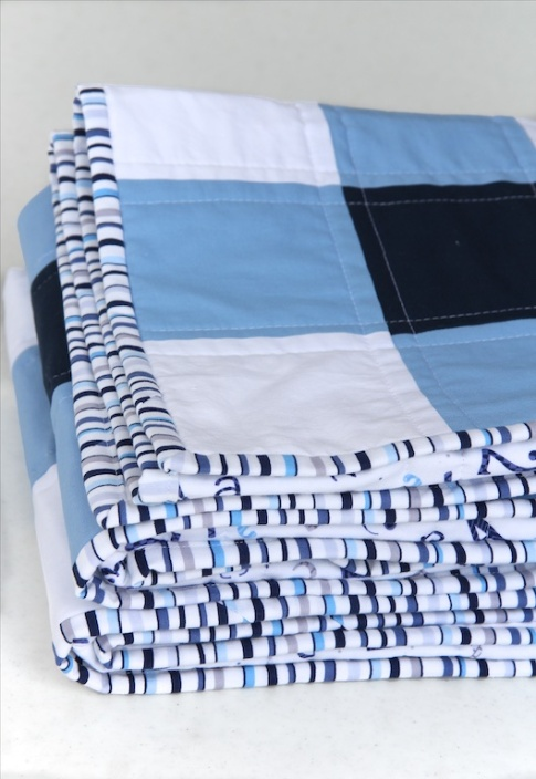 Navy Gingham Quilt binding