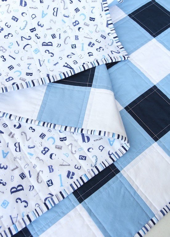 Navy Gingham Quilt front and back