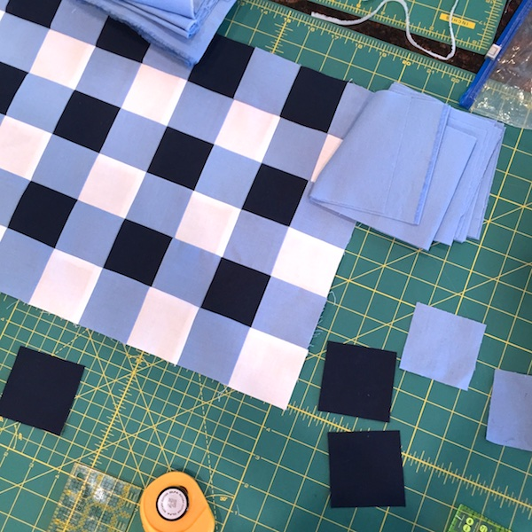 Navy Gingham Quilt WIP