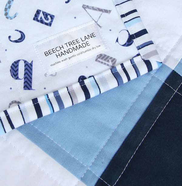 Navy Gingham Quilt with label