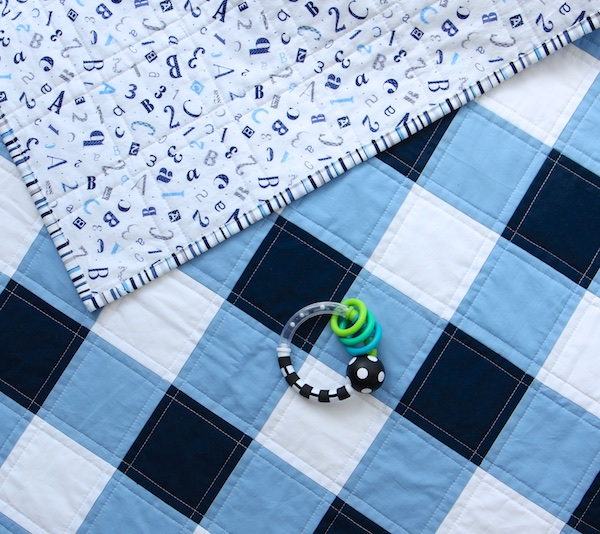 Navy Gingham Quilt wtih toy
