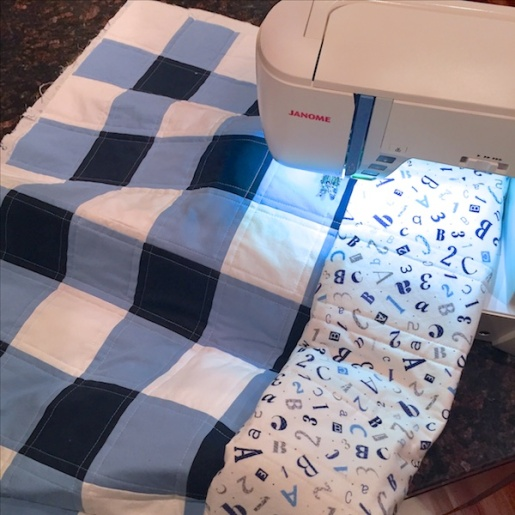 Navy Gingham Quilting