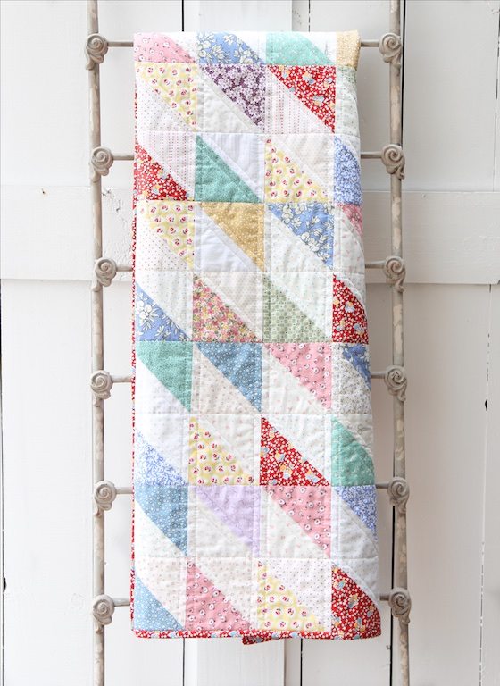 30's Scrap Quilt on ladder