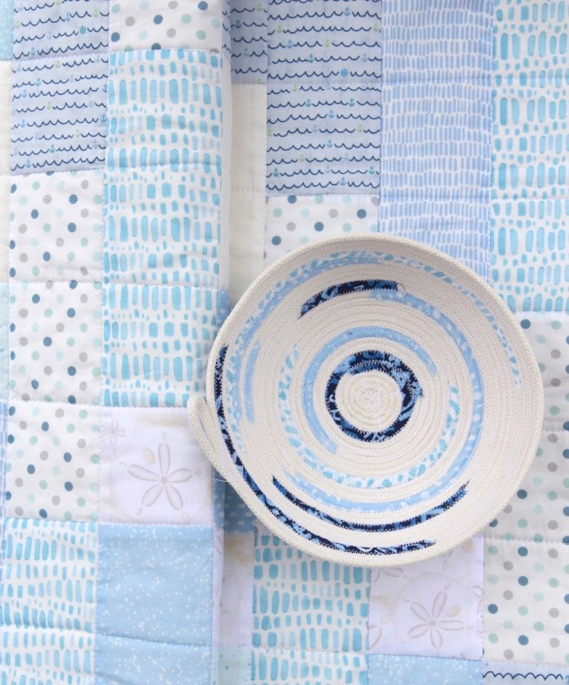 Shifting Strips Beach Quilt with Rope Bowl by Beech Tree Lane Handmade