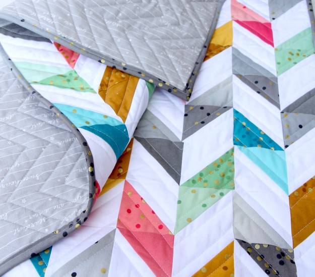 Herringbone Quilt back and front