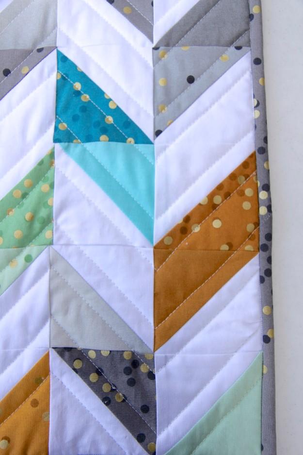 Herringbone quilt detail