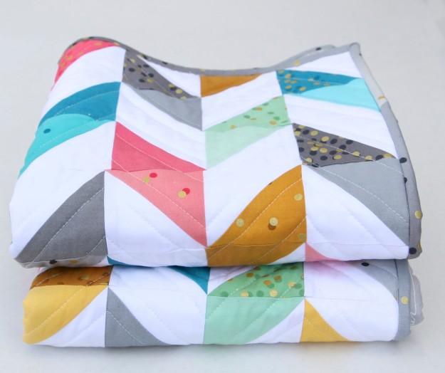 Herringbone Quilt Folded
