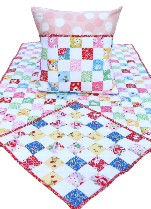 16-Patch Sugar Sack Pillow, Quilt, Blankie