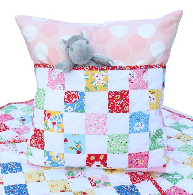 Sugar Sack PIllow with quilt and Hippo